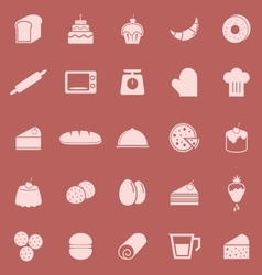 Bakery color icons on red background vector