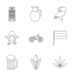 Holland icons set outline style vector