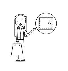drawing girl shopping with wallet vector image