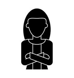 Silhouette woman leader job business cross arms vector