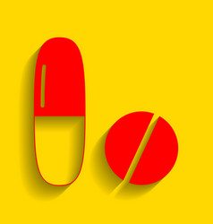 Medical pills sign  red icon with soft vector