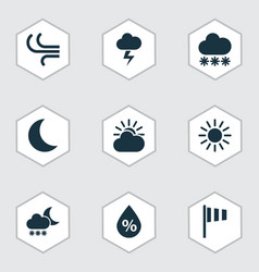 nature icons set collection of sun breeze night vector image