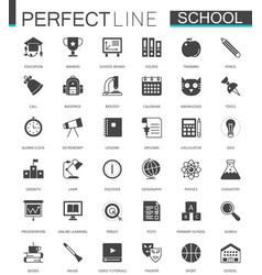 Black classic web school icons set vector