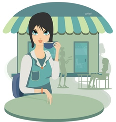 Woman sipping coffee vector