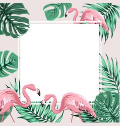 tropical border frame banner leaves flamingo birds vector image