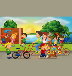 Road scene with kids and family riding bikes vector