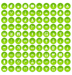 100 world tour icons set green vector