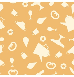 Seamless texture with tea items vector