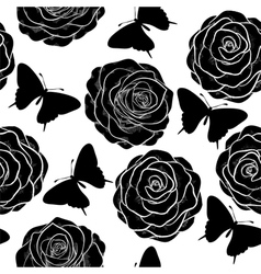 seamless background with butterflies and roses vector image