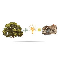 Tree drawing and house vector image