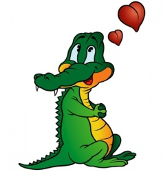 Amorous crocodile vector
