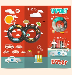 Transport - export import red retro brochure vector