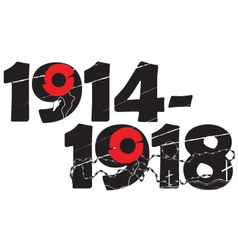 World war i commemorative symbol with dates and po vector
