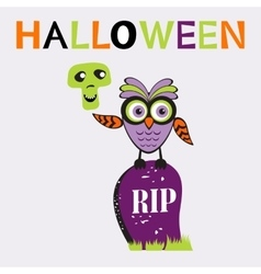 An of cute halloween owl vector