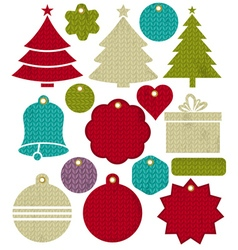 Vintage christmas labels with pattern of stitch vector