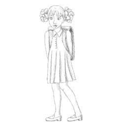 Hand drawn schoolgirl with backpack sketch vector image