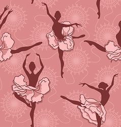 Seamless pattern of ballet dancers vector