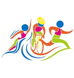 Triathlon icon in colors vector image