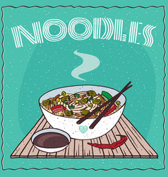Asian noodle soup ramen or udon with vegetables vector