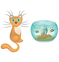 cartoon cat and aquarium with fishes vector image