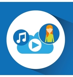 Cartoon girl blonde music cloud app vector
