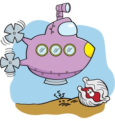 Cartoon submarine and clam vector