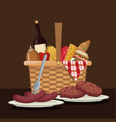 Color scene of picnic basket with foods and vector