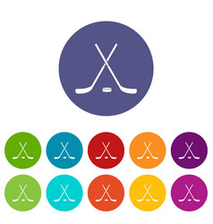 Crossed hockey sticks and puck set icons vector