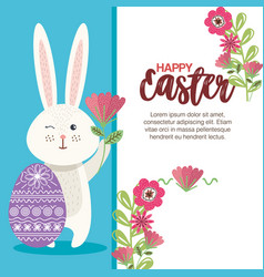 Eggs paint with rabbit and flowers easter season vector