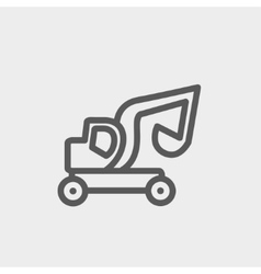Excavator truck thin line icon vector