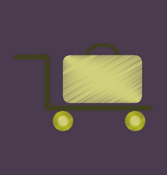 Flat icon in shading style suitcase on trolley vector