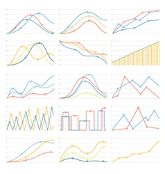 flat linear graph chart vector image