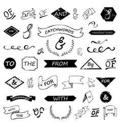 hand lettered ampersands and catchwords vector image vector image