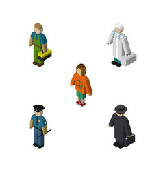 Isometric people set of detective lady plumber vector