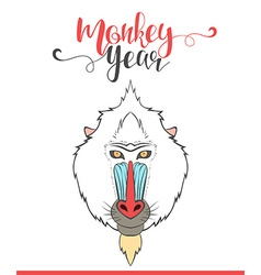 Lettering calligraphy with monkey Happy monkey vector image vector image