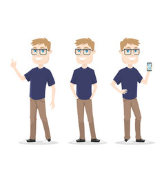 male character it guy smart and nerd for video ani vector image
