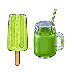 Matcha green tea desserts - smoothie and popsicle vector