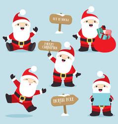 santa claus in fun poses christmas set 4 vector image