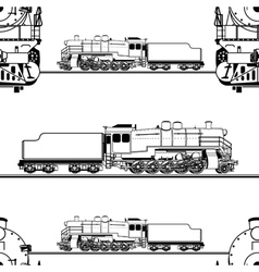 Seamless pattern of a steam locomotive vector