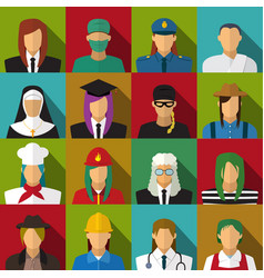 Set of 16 woman job icons in flat with long shadow vector