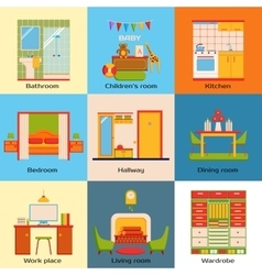 Set of interior design home rooms flat design vector