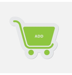 Simple green icon - shopping cart add vector