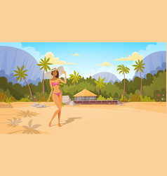 Tanned woman in bikini on beach sexy girl wear vector