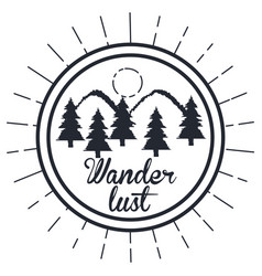 Wanderlust hand drawn mountain adventure label vector
