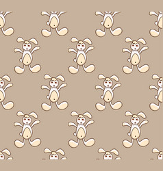 white rabbit on brown background vector image vector image