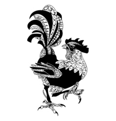 Zentangle stylized cartoon rooster cock isolated vector