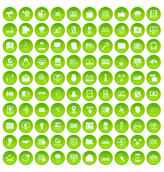 100 cyber security icons set green vector