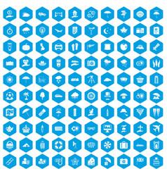100 umbrella icons set blue vector