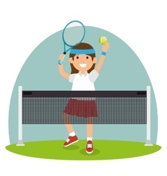 Tennis girl jump court net vector