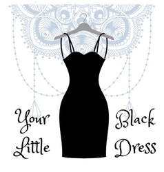 The little black dress hanging on a hanger vector